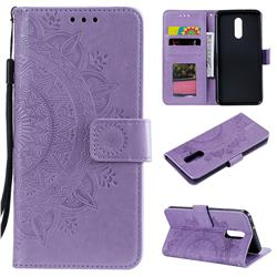 Intricate Embossing Datura Leather Wallet Case for LG Stylo 5 - Purple