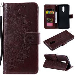 Intricate Embossing Datura Leather Wallet Case for LG Stylo 5 - Brown