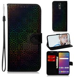 Laser Circle Shining Leather Wallet Phone Case for LG Stylo 5 - Black