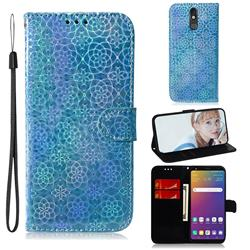 Laser Circle Shining Leather Wallet Phone Case for LG Stylo 5 - Blue