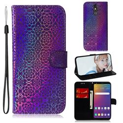 Laser Circle Shining Leather Wallet Phone Case for LG Stylo 5 - Purple