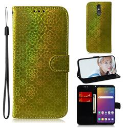 Laser Circle Shining Leather Wallet Phone Case for LG Stylo 5 - Golden