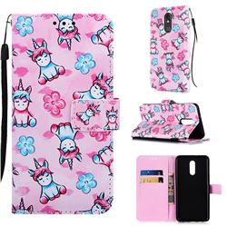 Unicorn and Flowers Matte Leather Wallet Phone Case for LG Stylo 5