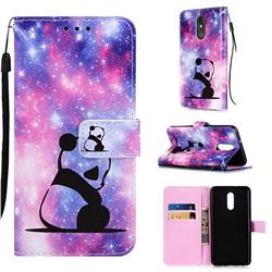 Panda Baby Matte Leather Wallet Phone Case for LG Stylo 5