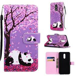 Cherry Blossom Panda Matte Leather Wallet Phone Case for LG Stylo 5
