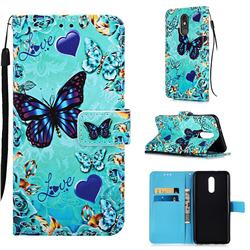 Love Butterfly Matte Leather Wallet Phone Case for LG Stylo 5