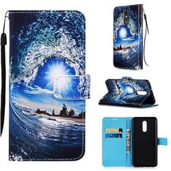 Waves and Sun Matte Leather Wallet Phone Case for LG Stylo 5