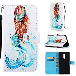 Mermaid Matte Leather Wallet Phone Case for LG Stylo 5