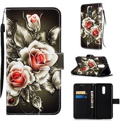 Black Rose Matte Leather Wallet Phone Case for LG Stylo 5