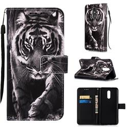 Black and White Tiger Matte Leather Wallet Phone Case for LG Stylo 5