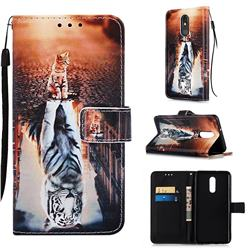 Cat and Tiger Matte Leather Wallet Phone Case for LG Stylo 5