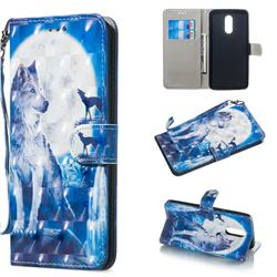 Ice Wolf 3D Painted Leather Wallet Phone Case for LG Stylo 5