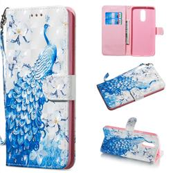 Blue Peacock 3D Painted Leather Wallet Phone Case for LG Stylo 5