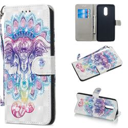 Colorful Elephant 3D Painted Leather Wallet Phone Case for LG Stylo 5