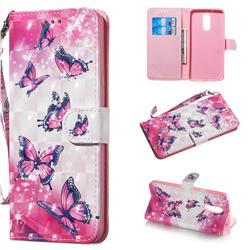 Pink Butterfly 3D Painted Leather Wallet Phone Case for LG Stylo 5