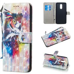 Watercolor Owl 3D Painted Leather Wallet Phone Case for LG Stylo 5