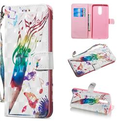 Music Pen 3D Painted Leather Wallet Phone Case for LG Stylo 5