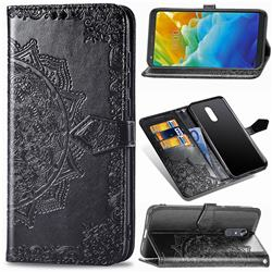 Embossing Imprint Mandala Flower Leather Wallet Case for LG Stylo 5 - Black