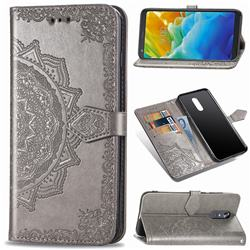 Embossing Imprint Mandala Flower Leather Wallet Case for LG Stylo 5 - Gray