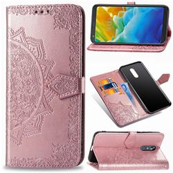Embossing Imprint Mandala Flower Leather Wallet Case for LG Stylo 5 - Rose Gold