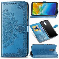 Embossing Imprint Mandala Flower Leather Wallet Case for LG Stylo 5 - Blue