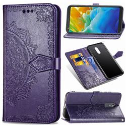 Embossing Imprint Mandala Flower Leather Wallet Case for LG Stylo 5 - Purple