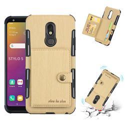 Brush Multi-function Leather Phone Case for LG Stylo 5 - Golden