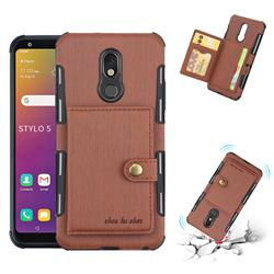Brush Multi-function Leather Phone Case for LG Stylo 5 - Brown