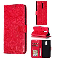 Intricate Embossing Lace Jasmine Flower Leather Wallet Case for LG Stylo 5 - Red