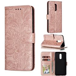 Intricate Embossing Lace Jasmine Flower Leather Wallet Case for LG Stylo 5 - Rose Gold