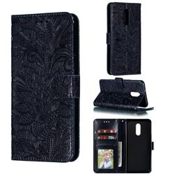 Intricate Embossing Lace Jasmine Flower Leather Wallet Case for LG Stylo 5 - Dark Blue