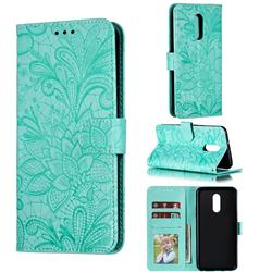 Intricate Embossing Lace Jasmine Flower Leather Wallet Case for LG Stylo 5 - Green