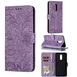 Intricate Embossing Lace Jasmine Flower Leather Wallet Case for LG Stylo 5 - Purple