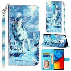 Snow Wolf 3D Leather Phone Holster Wallet Case for LG Stylo 5