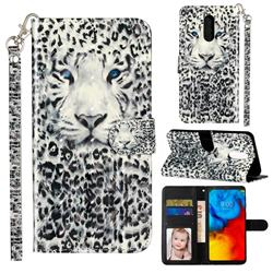 White Leopard 3D Leather Phone Holster Wallet Case for LG Stylo 5