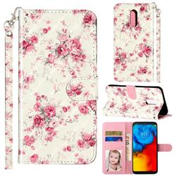 Rambler Rose Flower 3D Leather Phone Holster Wallet Case for LG Stylo 5