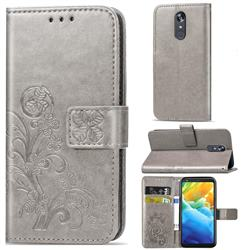 Embossing Imprint Four-Leaf Clover Leather Wallet Case for LG Stylo 5 - Grey