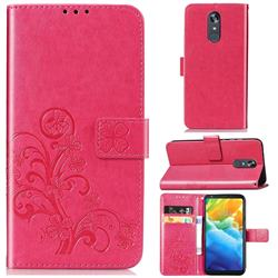 Embossing Imprint Four-Leaf Clover Leather Wallet Case for LG Stylo 5 - Rose Red