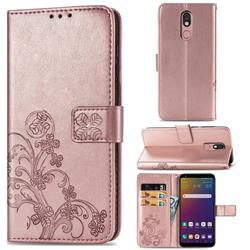 Embossing Imprint Four-Leaf Clover Leather Wallet Case for LG Stylo 5 - Rose Gold