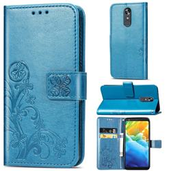 Embossing Imprint Four-Leaf Clover Leather Wallet Case for LG Stylo 5 - Blue