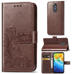 Embossing Imprint Four-Leaf Clover Leather Wallet Case for LG Stylo 5 - Brown