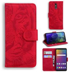 Intricate Embossing Tiger Face Leather Wallet Case for LG Stylo 5 - Red