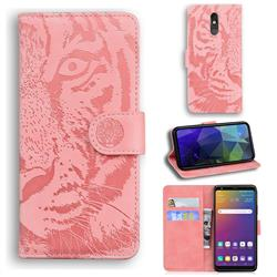 Intricate Embossing Tiger Face Leather Wallet Case for LG Stylo 5 - Pink