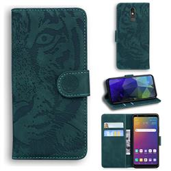 Intricate Embossing Tiger Face Leather Wallet Case for LG Stylo 5 - Green