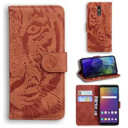 Intricate Embossing Tiger Face Leather Wallet Case for LG Stylo 5 - Brown