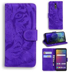 Intricate Embossing Tiger Face Leather Wallet Case for LG Stylo 5 - Purple