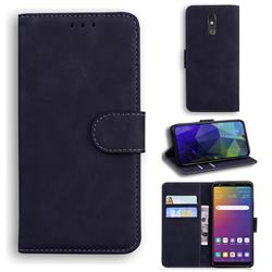 Retro Classic Skin Feel Leather Wallet Phone Case for LG Stylo 5 - Black