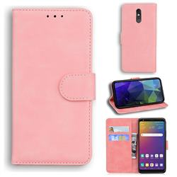 Retro Classic Skin Feel Leather Wallet Phone Case for LG Stylo 5 - Pink