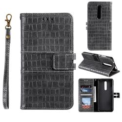 Luxury Crocodile Magnetic Leather Wallet Phone Case for LG Stylo 5 - Gray