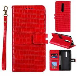 Luxury Crocodile Magnetic Leather Wallet Phone Case for LG Stylo 5 - Red
